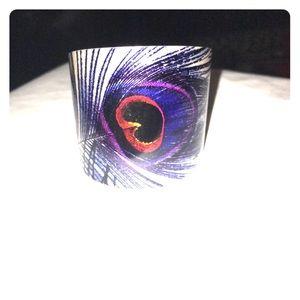 Jewelry - Feather print silver cuff bracelet